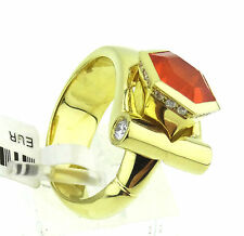 Damen Ring, Unikat, 750 / 18k Gold,Feueropal ca. 2,15 ct., Brillanten Handarbeit