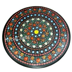 30 Inches Marble Coffee Table Top with Semi Precious Stone Inlaid Meeting Table