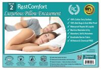 Set of 2 Cotton Terry Pillow Protector, Bed Bug & Dust Mite Bacteria, Waterproof