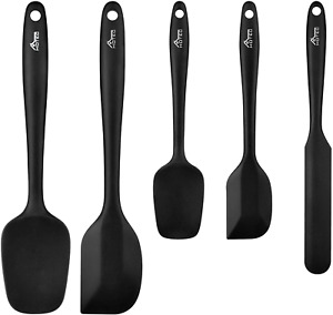 Hotec Food Grade Silicone Spatulas Spoons Set Kitchen Utensils for Baking, and