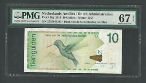 Netherlands Antilles  10 Gulden  2014, Pick-28, PMG 67 Super Gem Unc