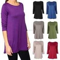 Women Ladies Loose 3/4 Sleeve Cotton Long T-Shirt Tunic Casual Top Blouse S-XXL