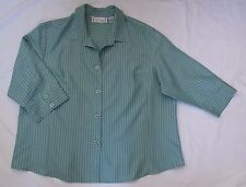 Sarah Bentley Green button-front Blouse, womens size 3X
