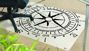 Bodenschutzmatte Bürostuhlunterlage 120 x 100 cm Antirutsch Motiv Kompass