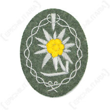 Edelweiss - Type 4 Heer silver wire - WW2 Repro German Flower Badge Patch Army
