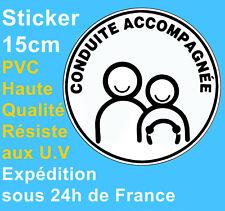 Sticker Autocollant Disque neuf Conduite accompagnée automobile voiture 15cm