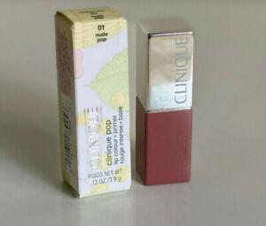 NEW! IN BOX! CLINIQUE POP LIP COLOUR LIPSTICK + PRIMER - NUDE POP 01 SALE