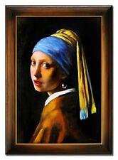 Jan Vermeer-Das Mädchen mit dem Perlenohrring-105x75cm-Ölgemälde mit Rahmen