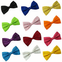 Smart Bow Tie Neck Mens Clip-on Satin Black Dickie Fancy Dress Wedding Plain Pre