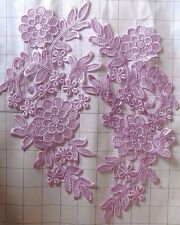 """Pair of 12"""" by 6"""" Lavender Flower Embroidered Sew-on Appliques"""