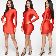 Women Mock Neck Long Sleeve Solid Color Bodycon Cocktail Party Package Hip Dress