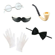Men's Victorian Steampunk Set (Round Glasses, Pipe, Gloves, Bow Tie, Moustache)