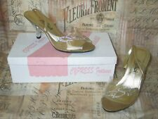 Vintage 1950s Carved Lucite High Heel Stiletto Peep Toe Shoes -Rhinestone Accent