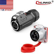 CNLINKO 3 Pin Power Connector Female Plug & Male Socket Waterproof Heavy Duty