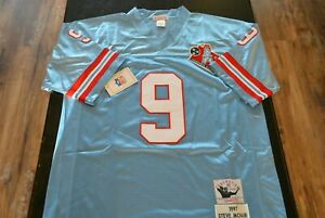 New Steve McNair Tennessee Oilers #9 Jersey Blue Size X-Large XL SEWN Stitched
