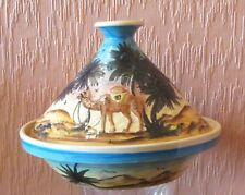 Hand-made and Hand-painted Tunisian Lidded Dish with Desert Scene.