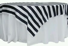 "Lot of 10 Brand New Stripe 90""x90"" Square Satin Table Overlay - Black & White"