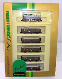 Minitrix / Trix N 1018 Zugset mit E 36 02 und 6 Personenwagen der DRG OVP JU355