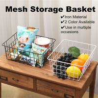 Iron Storage Basket Metal Wire Mesh Basketry Bathroom For kitchen Bath Tray Desk