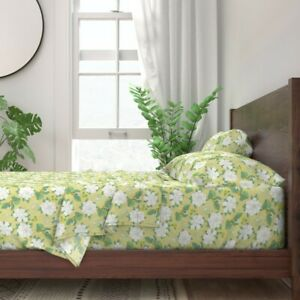 Flowers Floral Leaves Queen Annes Lace 100% Cotton Sateen Sheet Set by Roostery