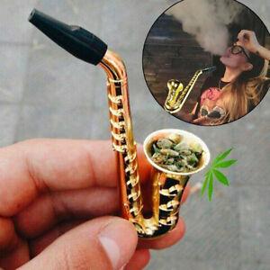 "Saxophone Shape Mini Portable Smoking Pipes Metal Pipe 3.82"" Smoking Accessories"
