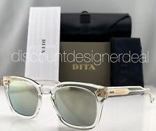 DITA MANN Square Sunglasses DTS102-49-04 Clear Frame Gold Mirror Lenses 49mm NEW