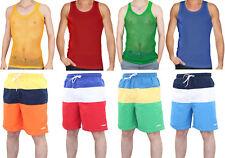 New Mens Beach Swimming Shorts Crystal Cotton Fishnet Vest Summer Beach Top