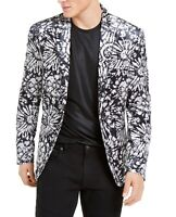 INC Mens Blazer Black Gray Small S Velvet Slim-Fit Floral Two-Button $149 051