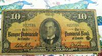 1936 PROVINCIAL BANK OF CANADA $10 - ORANGE BANKNOTE
