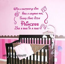 Sleep Tight Princess Wall Quote Decals Stickershome Decor Kids Nursery Baby Art