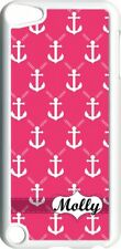 Monogrammed Pink Anchor Design on iPod Touch 5th Gen 5G White TPU Case Cover