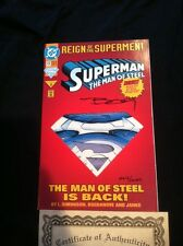 REIGN OF THE SUPERMAN DC COMICS June 1993 #22 Signed by Jon Bogdanove COA 2612