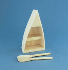 Dollhouse Miniature Natural Wood Row Boat/Shelf #D9154-92