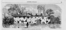 Stampa antica BOFFALORA dopra TICINO edificio distrutto nel 1859 Old print