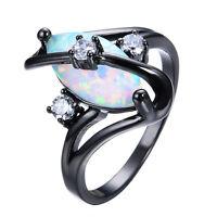 White Fire Opal & 3 Pcs CZ S Shape Wedding Ring 10KT Black Gold Filled Size 5-12