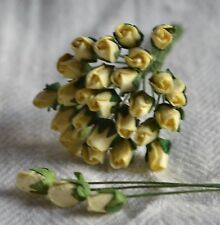 48 LIGHT YELLOW ROSE BUDS (S) Mulberry Paper Flowers wedding miniature