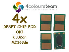 4x TONER RESET CHIPS FOR OKI C332dn MC363dn 46508712 46508711 46508710 46508709