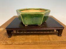 Green glazed Shohin size 6 sided bonsai tree pot by Seisho 4 1/8�