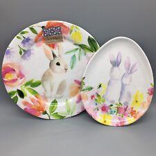 8pc Nicole Miller Floral Bunny MELAMINE Dinner Dessert Kids Egg Plate Set Easter