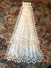 Antique Victorian Edwardian Bobbin Lace And Linen Linen Front Bib Collar