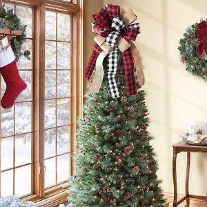 Christmas Tree Topper Rustic Buffalo Plaid Decorative Bow Ornament Wedding Decor