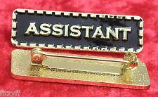 Assistant Lapel Pin Badge Black & Gold Colour Sign Brooch