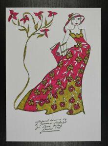 Roz Jennings Fashion Drawing Original Art Work Illustrator Laura Ashley 70s (K11