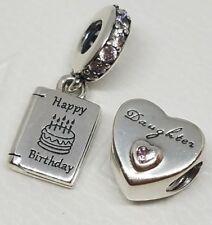 lot 2 PANDORA Dangle Happy Birthday Wishes Charm 791723CZ Daughter 791726PCZ new