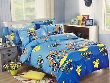 Pokemon Pikachu Bedding Set Bed Sheet Duvet Cover Pillowcase Queen