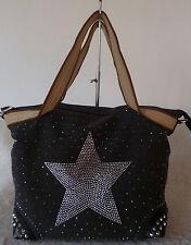 Beuteltasche Damen Tasche Shopper Canvas XL Strass Stern schwarz anthrazit NEU