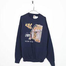 Vintage 90s NEW YORK Farm Graphic Sweatshirt Blue | XL