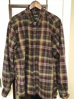 Eddie Bauer Flannel Mens XL Relaxed Fit Red Plaid Long Sleeve Button Up Shirt