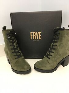 Frye Size 7.5 MYRA LUG COMBAT Forest Green Suede Heeled Boots New Womens Shoes