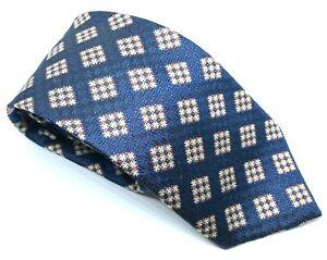 """Bugatti Men's Tie Blue Geometric 100% Silk 3.25"""" Width 61"""" Long"""